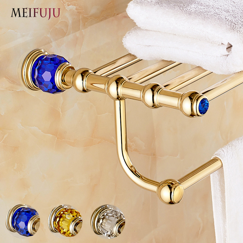 Luxury Brass+Crystal Gold Plating Towel Rack towel Shelf With Bar Towel Holder Bathroom Accessories Free Shipping bath hardware free shipping brass & stone golden towel rack gold towel bar towel holder cy008s