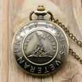 Nunca Esquecer A História de Bronze Retro Relógio de Bolso Com Corrente Melhor Presente Para Os Estados Unidos Veteranos Jovens