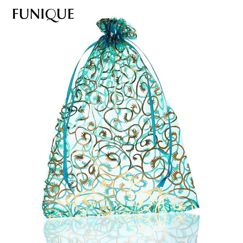 FUNIQUE 25PCs Flower Pattern Skyblue Jewelry Organizer Bags Pouches