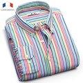 Langmeng 2016 Мужские хлопковые Рубашки в полоску рубашка с длинным рукавом весна осень мужчины платье рубашки бизнес формальный случайные рубашки