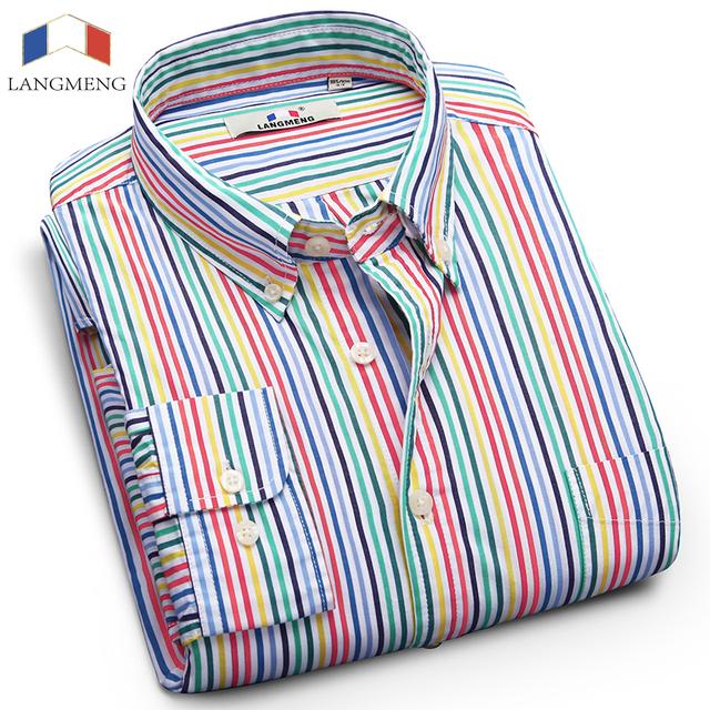 Langmeng 2016 Mens cotton Shirts striped  long sleeve dress shirt spring autumn men dress shirts business formal casual shirts