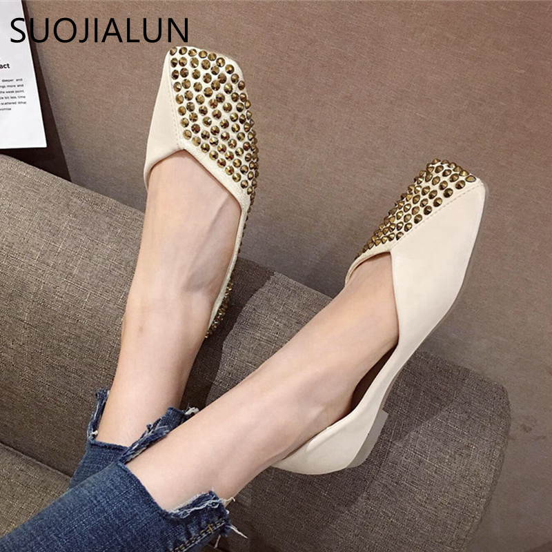 SUOJIALUN 2019 Summer Woman Flats Ballet Shoes Female Fashion Rivet Square Toe Loafer Ladies Slip On Casual Flat Zapatos Mujer in Women 39 s Flats from Shoes