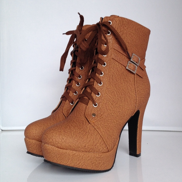 2017 Autumn Winter Women's High Heels Lace Up Leather Double Buckle Ankle Boots