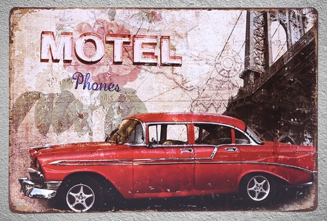 1 pc Antique car impala Cuba Motel phone booth Tin Plate Sign wall plaques man cave & 1 pc Antique car impala Cuba Motel phone booth Tin Plate Sign wall ...