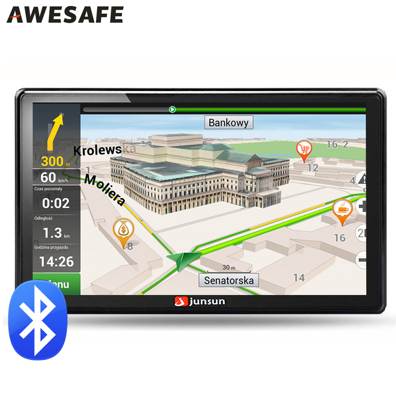7 inch Car GPS navigation Bluetooth avin 256MB 800Mhz 8GB Full Europe/USA/ Russia navitel navigator Sat Nav Truck vehicle gps