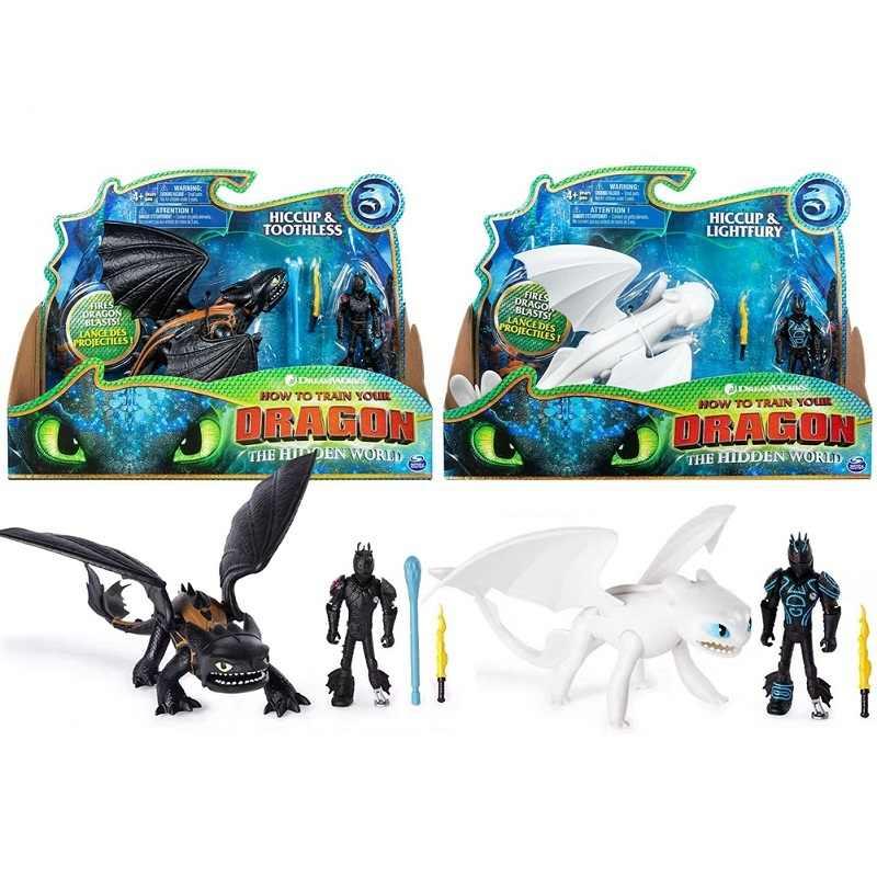 How to Train Your Dragon Desdentado 3 genuíno Com Soluço Figura Modelo Brinquedos de Presente Criativo Crianças Cos Partido Luz Fúria frete Grátis