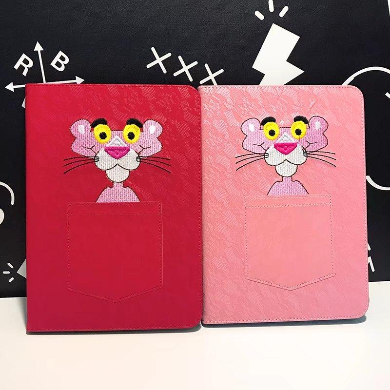 maosenguoji embroidery pocket Pink Panther Tablet Case For Ipad mini 1 2 3 4 Smart wake up/sleep Function Folding Bracket cover