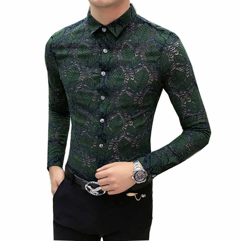 ee32bdc6289 Detail Feedback Questions about Transparent Shirt mens see through shirts  long Sleeve Men Lace Shirt Sexy Club party Wedding Shirt Men Floral on ...