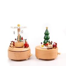 Creative חג המולד עץ מעץ מסתובב מוסיקה Boxs אמנות בציר קישוט צעצועי ילדים פסטיבל יום הולדת מתנה
