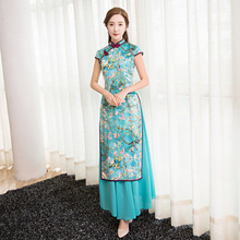 2017 Spring and Summer New National Style Two Sets of Pieces of Cheongsam Dress Slim Modified Cheongsam Dress Long Section