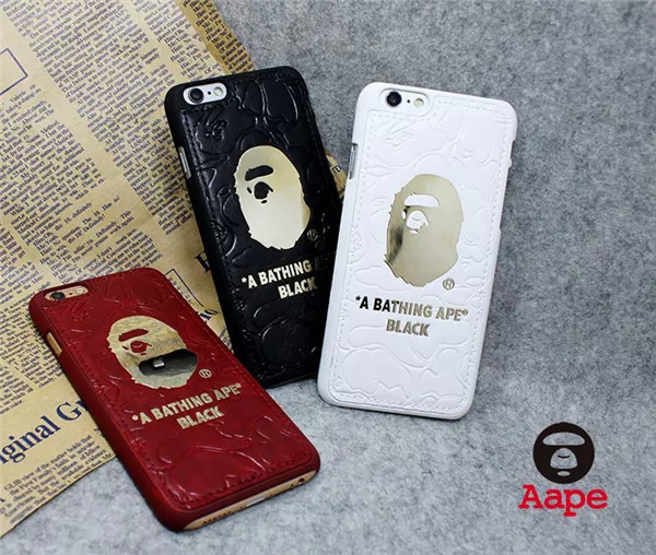 quality design 7b8b9 ff98b US $7.99 |NEW supreme gold bathing ape genuine leather I6/6 plus mobile  phone case for apple iphone 6 black cover original retail box on ...