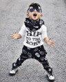 SY136 2016 Otoño bebé niño ropa de los niños del algodón de la manera letras de manga larga T-shirt + Pantalones Cráneo 2 unids/set ropa