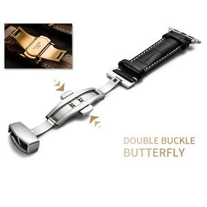 Image 4 - עור רצועת עבור אפל שעון 5 4 להקת 44mm 40mm פרפר אבזם iwatch 3 2 רצועת 42mm 38mm אפל שעון להקות צמיד