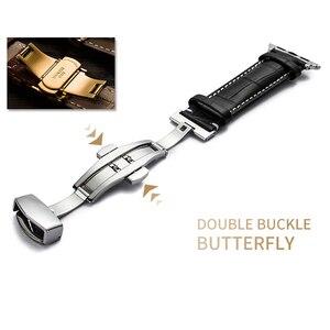 Image 4 - Lederband für Apple uhr 5 4 band 44mm 40mm Schmetterling schnalle iwatch 3 2 strap 42mm 38mm Apple uhr bands Armband