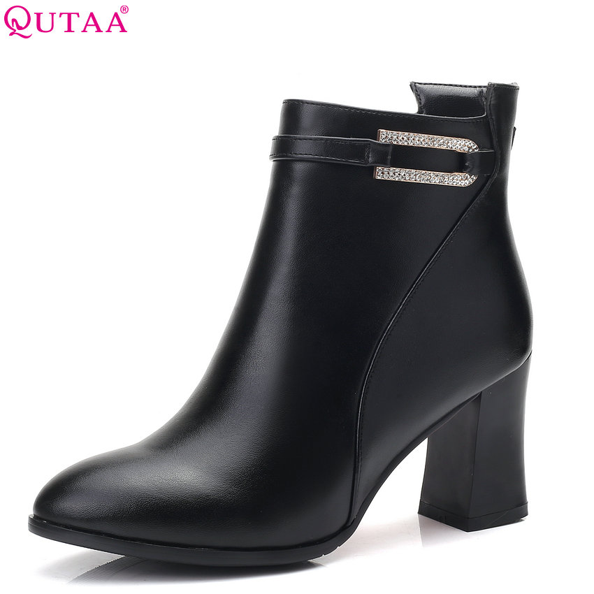 QUTAA 2018 Pu Leather Women Ankle Boots Fashion Zipper Square High Heel Pointed Toe All Match Women Motorcycle Boots 34-43 nemaone 2018 women ankle boots square high heel pointed toe zipper fashion all match spring and autumn ladies boots