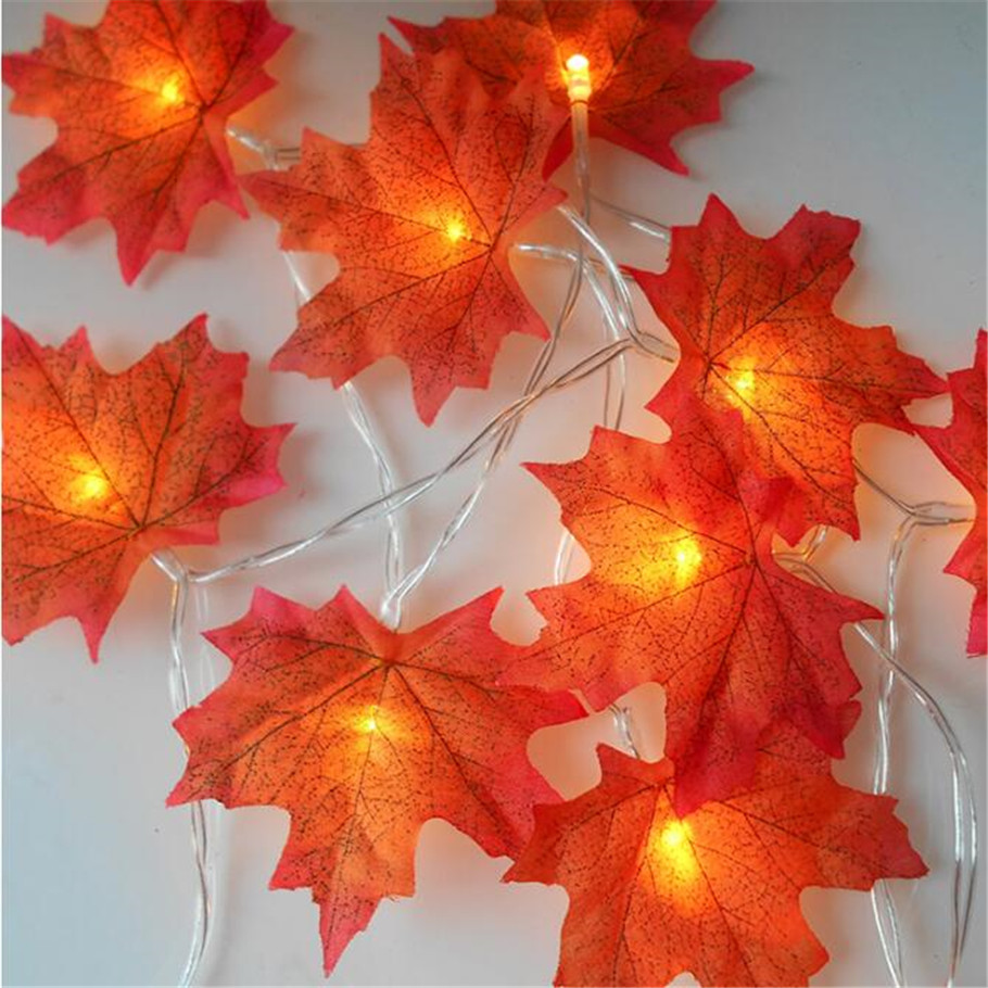 1.5M 2M 3M LED Autumn Maple Leaves LED Fairy String Light Holiday Party Flower Arrangement For New Year Decorations