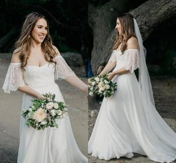 Cheap Boho Country Beach Wedding Dresses 2019 Off Shoulder Backless Sweep Train Simple Garden A Line Bridal Gowns Customized