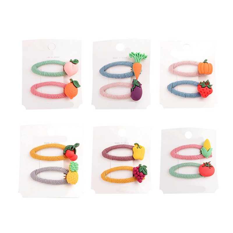 Hair Clip For Girl 2pcs/set Children Fashion Concise Casual All-match Fruit Decor Hair Clip Girl Hair Decoration(China)