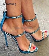 Mulheres de Design da marca de Moda Gladiador Sandálias de Salto Stiletto Três Tiras de Volta Zipper-up Sandálias de Salto Alto Vestido Sapatos de Salto