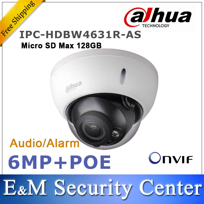 Original dahua IPC HDBW4631R AS 6MP IP Camera CCTV IK10 IP67 IR 30M built in SD card slot Audio and Alarm interface POE camera-in Surveillance Cameras from Security & Protection    1