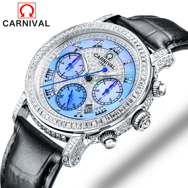 Watch Women Top brand Carnival luxury Fashion Casual Mechanical Transparent watch Lady relojes mujer women wristwatches Girl Dre