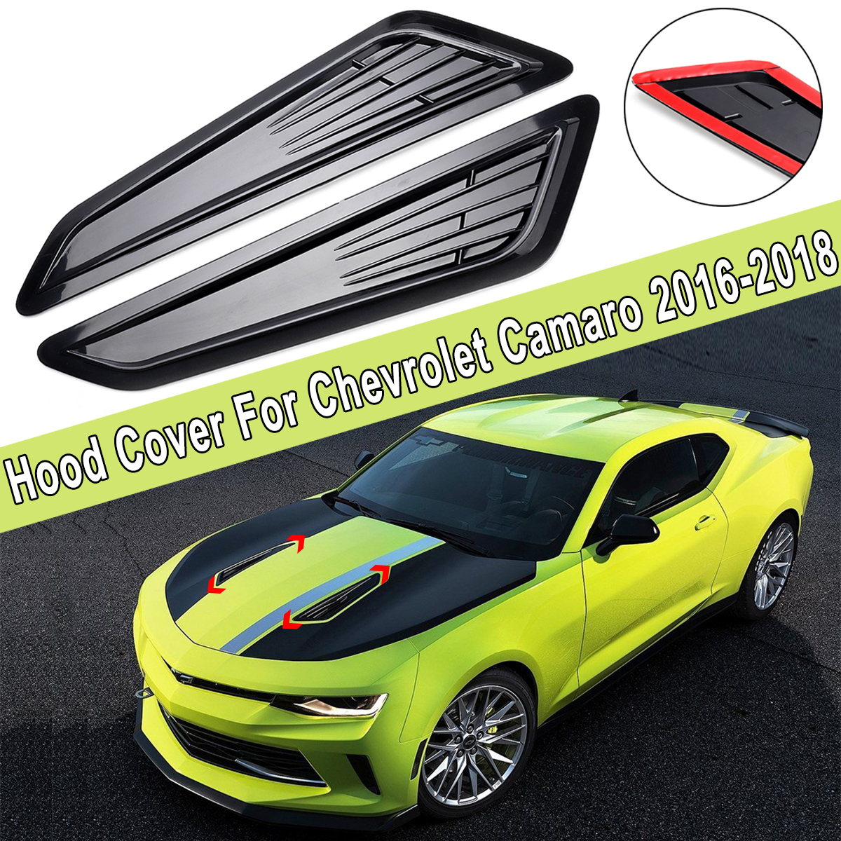 2Pcs Car Decor ABS SS Style Hood Air Flow Engine Outlet Decorative Vent Cover for Chevrolet for Camaro 1LT LT RS 2016 2017 2018