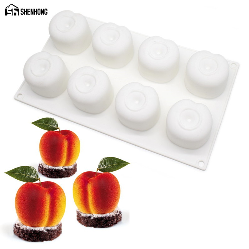 SHENHONG Peach Cherry 3D Art Cake Moule Pop Silicone Decoration Mold Mousse Silikonowe Formy Baking խմորեղենի բորբոս