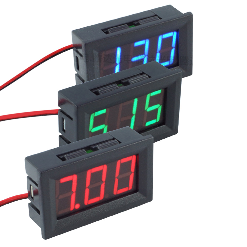 Mini Digital Voltmeter Ammeter DC 4.5-30V 0.56inch LED Panel Amp Volt Voltage Current Meter Two-wire Display Red Green Blue mini voltmeter tester digital voltage test battery dc 0 30v red blue green auto car page 4