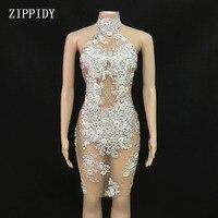 Новый дизайн сетки перспектива серебряные стразы жемчуг платье Вечеринка Сексуальные Платья Костюм для выступления певца наряд