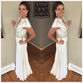 Vintage High Neck 2016 Evening Dresses Short Sleeves White Chiffon Dubai Abaya red carpet Celebrity Party Formal Gowns