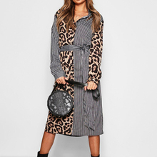 New Striped Shirt Dress Women Long Sleeve Patchwork Leopard Print Long Beach Dress Turn Down Collar Ladies Office Dress Vestidos leopard dress women 2019 autumn sexy mini party dress casual turn down collar office shirt dress ladies bandage dresses vestidos