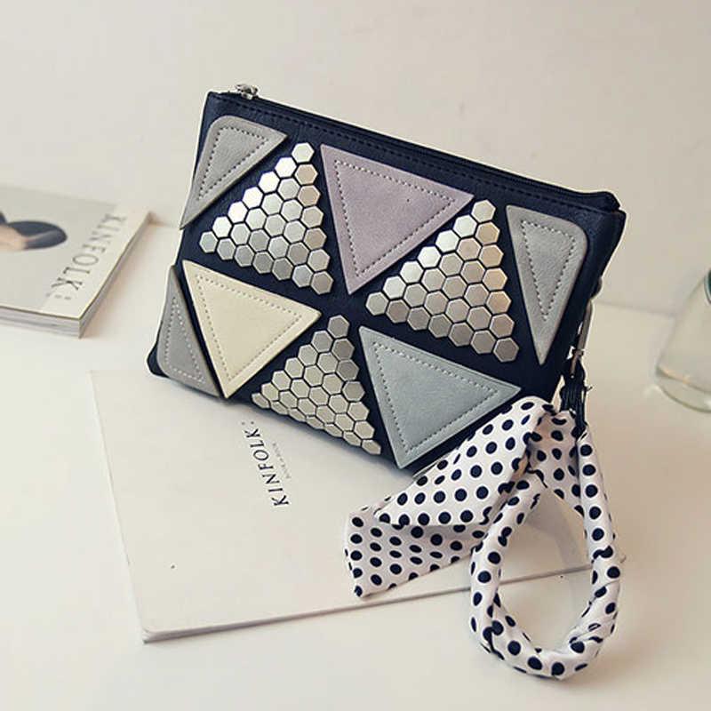 Новая летняя модная Лоскутная Женская сумка-мессенджер с заклепками дизайнерские женские Сумки Маленькая женская сумка через плечо бесплатная доставка