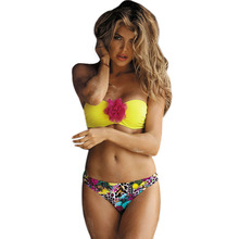 купить Sexy Bikini Swimsuit For Women Swimwear Bikini Set Yellow Big Flower Pink Blue Purple Push Up Swim Suit Beachwear по цене 640.16 рублей