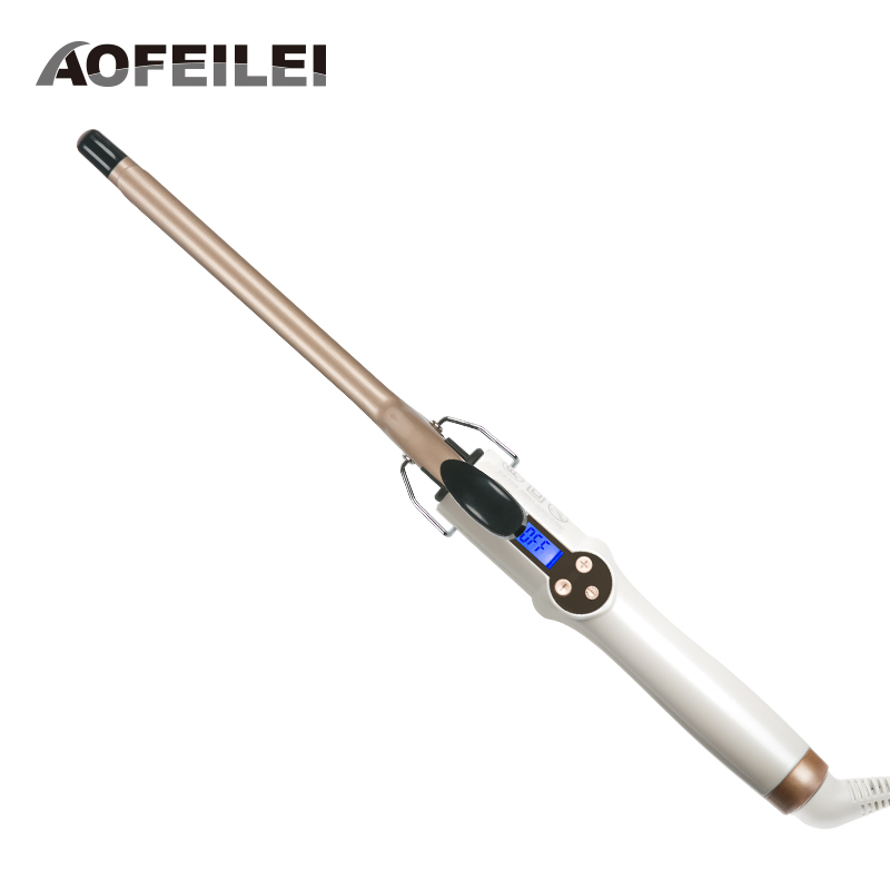 Aofeilei Professional Curling Iron Ceramic Curling Wand Roller Beauty Styling Tools With LCD Display 9mm Hair Curler