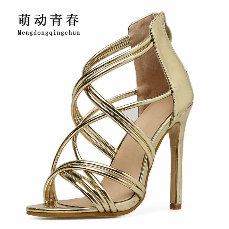 Women High Heels Shoes 2018 Women Peep Toe Casual Thin Heels Shoes Fashion Women Cross Strap Sexy Summer High Heels Sandals shoesofdream women s 2015 summer peep pointed toe red anke strap patent leahter sexy spike high heels
