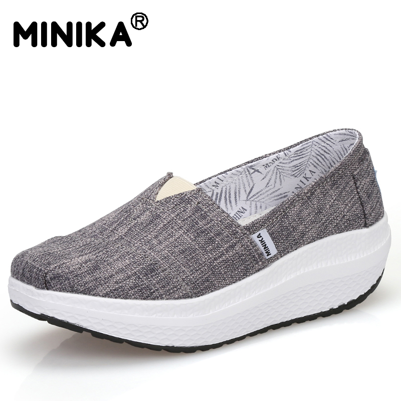 Minika Women Flats Casual Shoes Slip On Canvas Fashion Platform Shoes Autumn Lightweight Comfort Footwear Swing Shoes Woman vintage embroidery women flats chinese floral canvas embroidered shoes national old beijing cloth single dance soft flats