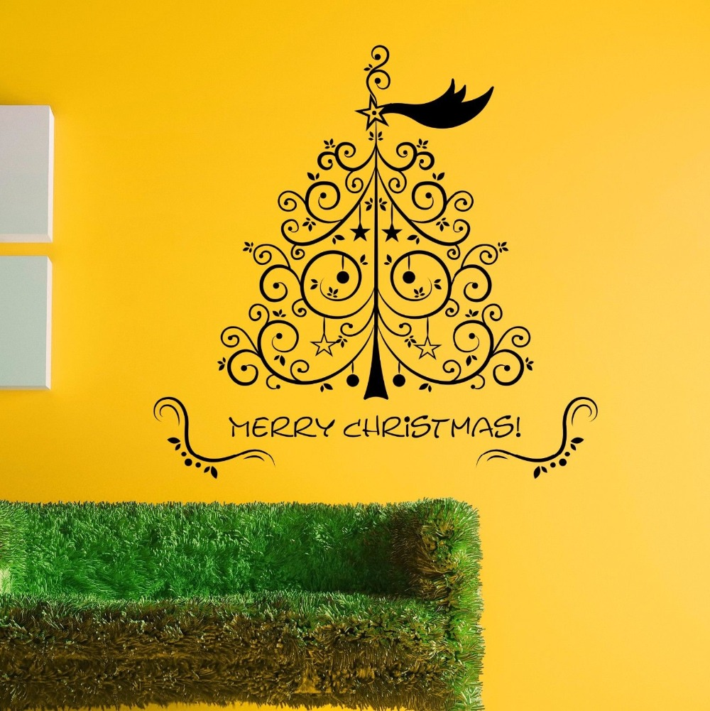 Art Design Chiristmas Tree With Merry Christmas Quotes Vinyl Wall ...