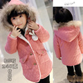 2015 new girls Lambswool coat Large hat children warm Outerwear baby girl winter  jackets kids thick clothing cotton Parkas