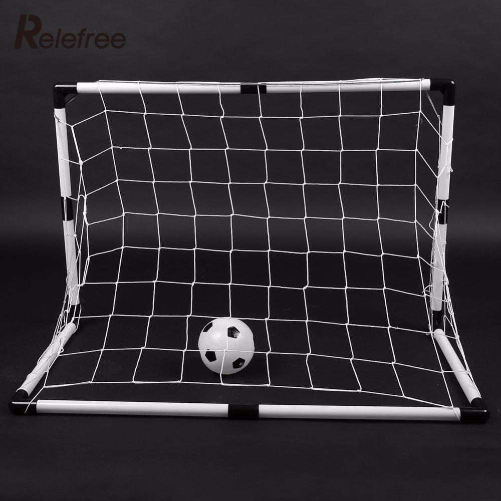 Relefree DIY Children Sports Soccer Goals Train Garden Game 2 Football Gate White W/Ball