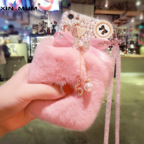 3D Mignon Lapin Poilu Fourrure Chaude Bling Strass perle Peluche Couverture Cas Pour l'iphone X XS MAX XR 5 5C 6 7 8 Plus Pour iPhone 7 Cas