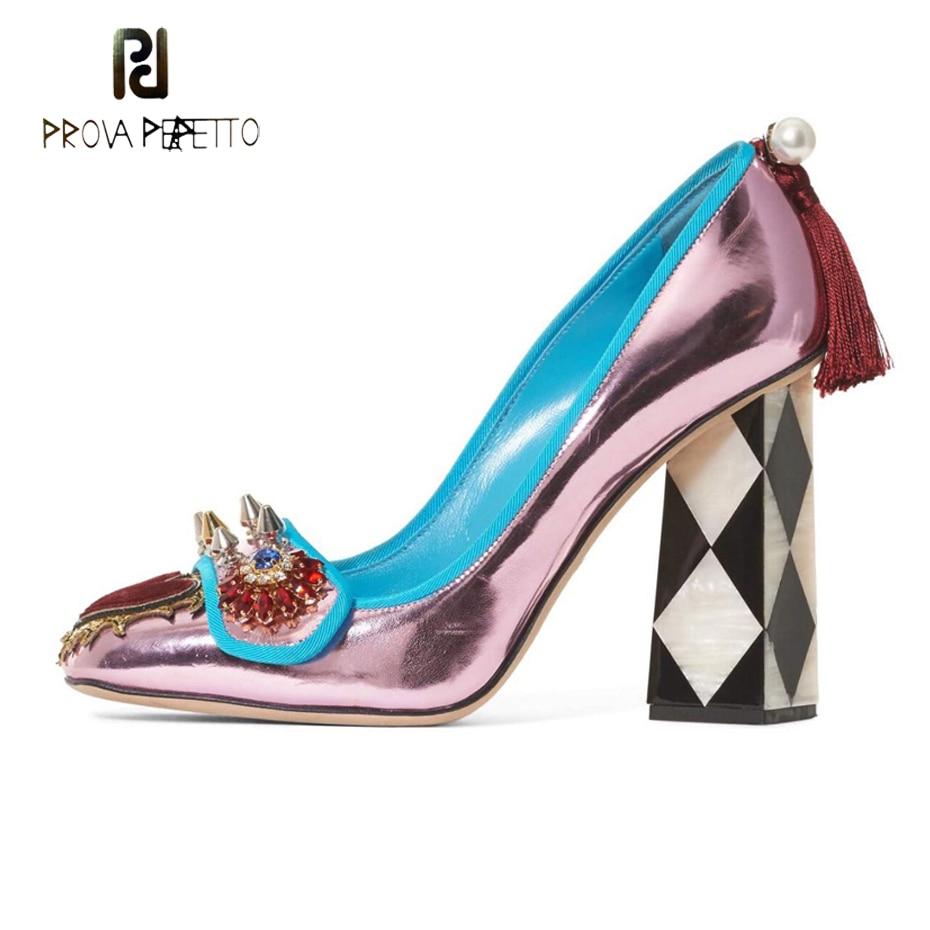 Prova Perfetto cristal fleur coeur embellir femmes pompes rivet stud perle gland couleur mélangée pastille haut talon dame fête chaussures