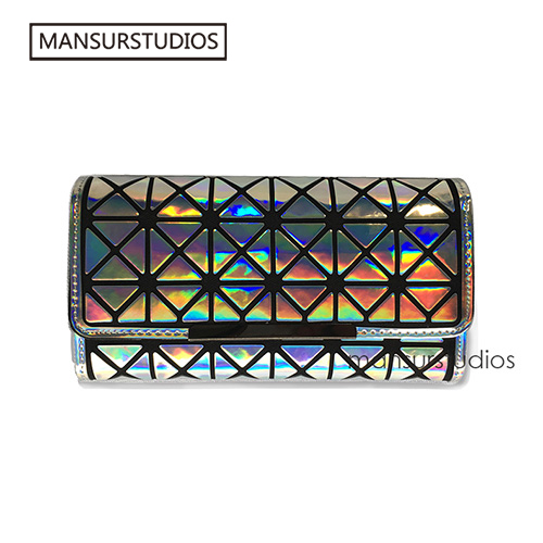 MANSURSTUDIOS Women noctilucence Long Wallets Laser bao bao wallet Diamond lattice standard long purse free shipping