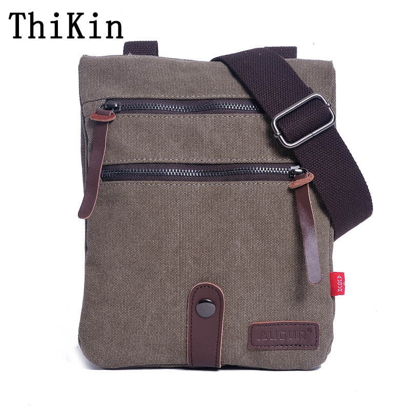 Augur Messenger Bag Business Travel Crossbody Bag Solid Color Small Bag Army Style Canvas Handbag Portable Women Shoulder Bag