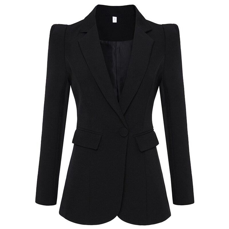 HAGEOFLY Autumn New Black White Blazer Women Work Office Formal Single Buttons Women Blazers OL Outwear Coat Big Size Blazers