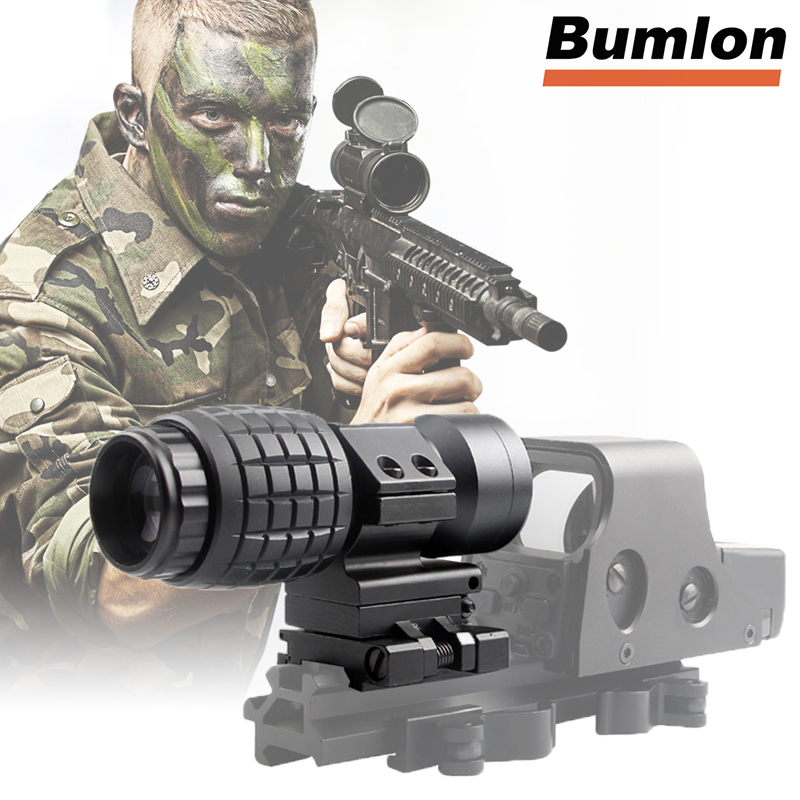 QD 3X Magnifier Sight Scope Quick Release With 20mm Flip To Side Mounts Fit Red Dot