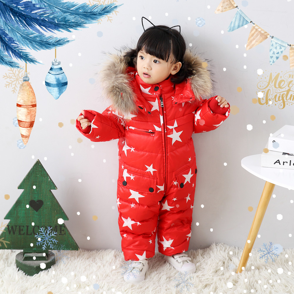 Здесь продается  Baby Jumpsuits Boys Girls Winter Overalls Baby Rompers Duck Down Jumpsuit Real Fur Collar  Детские товары
