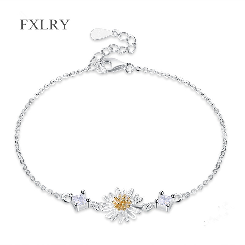 FXLRY New Design S925 Sterling Silver Micro Inlay Zircon Daisy Flower Charm Silver Chain Bracelets for Women Gift For Girl To Gi