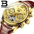 Роскошные золотые мужские часы Tourbillon  водонепроницаемые механические наручные часы из натуральной кожи  многофункциональные часы с римски...