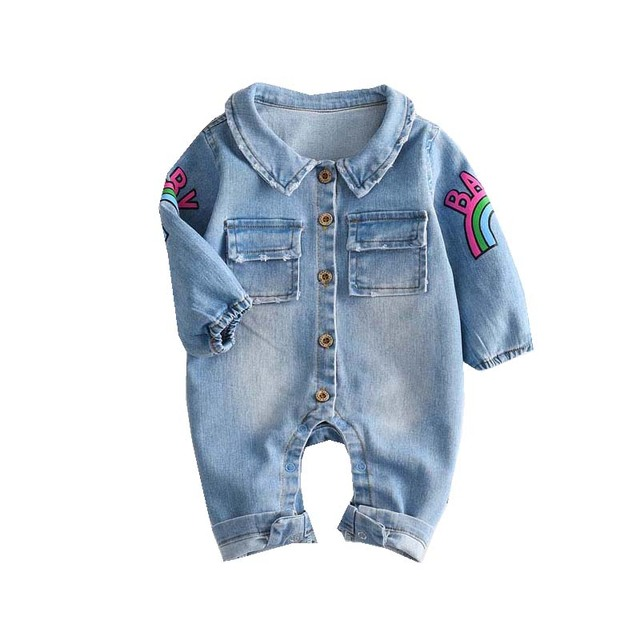 80bd79304838 New Baby Boy Clothes Fashion Blue Denim long Sleeve Baby Rompers Newborn  Animal Giraffe Rainbow Jumpsuits