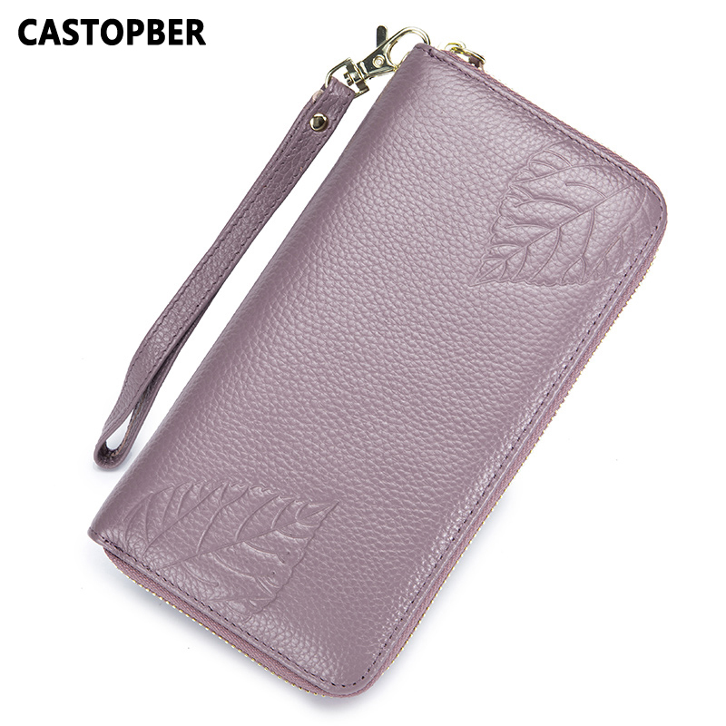Women Fashion Wallet Genuine Leather Long Cowhide Zipper Embossed Leaves Purse Ladies Day Clutches RFID Bag High Quality Brand
